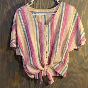 BeachLunchLounge linen cotton blend striped top